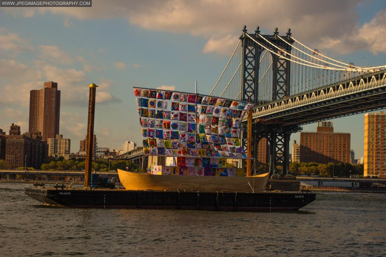 Ship of Tolerance exhibit on display in the East River of New York City during the DUMBO Arts Festival located in Brooklyn Bridge Park DUMBO Brooklyn, Sunday September 29, 2013.