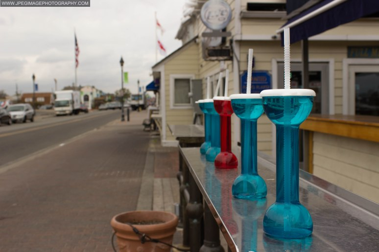 Plastic drinking cups at a local restaurant at Nautical Mile in Freeport L.I.