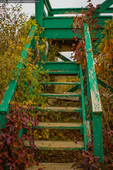 Flight of wooden stairs at Cow Meadow Park and Preserve in Freeport L.I.