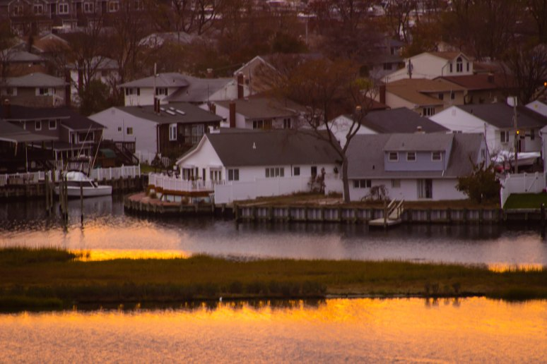 Houses located near the Norman J. Levy Park Preserve in Freeport L.I. during sunset.