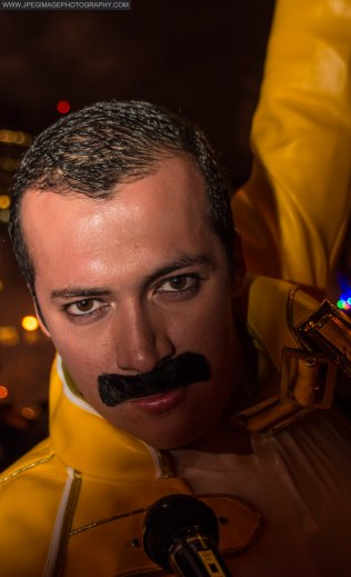 Portrait of a random male dressed as singer Freddy Mercury during the New York City Halloween parade.