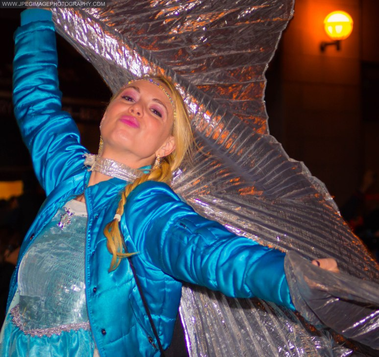 Portrait of a woman dressed as random character during the New York City Halloween parade.
